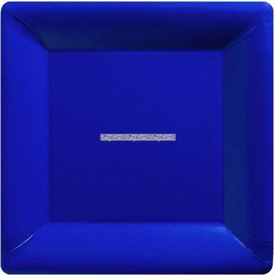Mörkblå fyrkantiga papperstallrikar