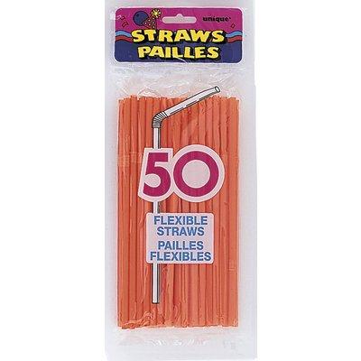 Orange böjbara sugrör - 50 st