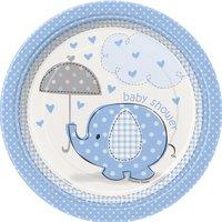 Assietter - Baby shower blå - 18 cm 8 st