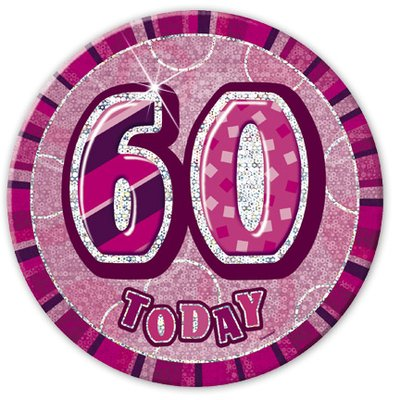 Rosa 60-års födelsesdagsknapp - 15 cm