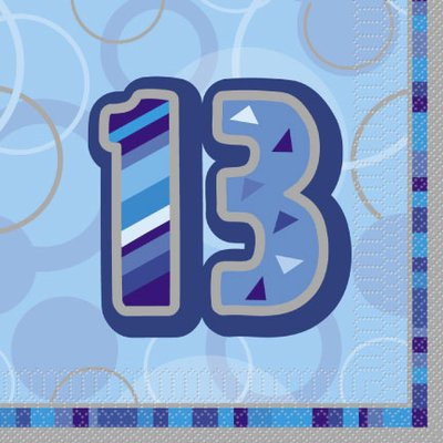 Servetter till 13-årsdagen blå 2-lags - 16 st