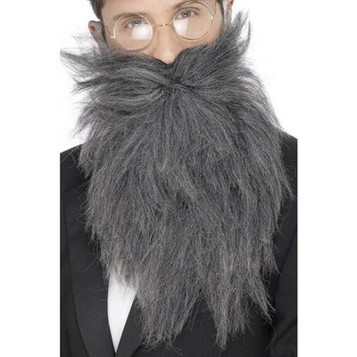 Långt skägg och mustasch grå