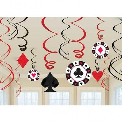 Casino hängande virvlar dekoration - 60 cm - 12 st