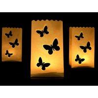 Ljuslykta av papper - Fjärilar 26 cm 10 st