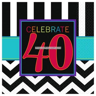 Kaffeservetter 40-års födelsedag 3-lagers - 16 st