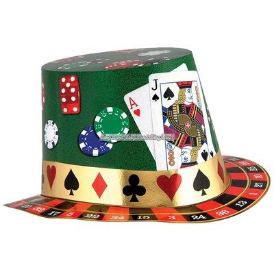 Casino spel hatt i papper med folieremsa
