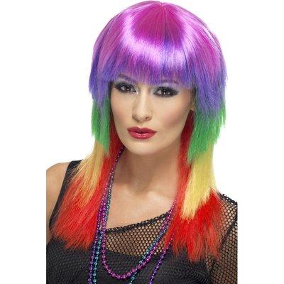 Regnbågsfärgad rockare peruk