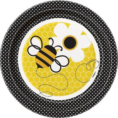 desserttallrikar i papper - Busy bees 17cm 8 st