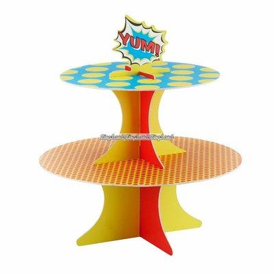 Pop Art Superhero Party cupcake/muffinsställ 2-våningars