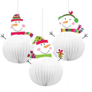 Glad snögubbe hängande dekorationer honeycomb- 20,3cm - 3 st