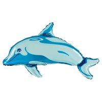 Folieballong - Delfin Blå Shape