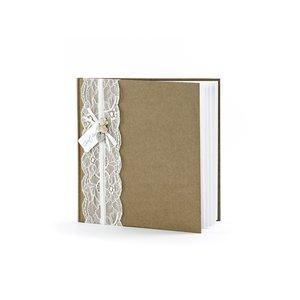 """Gästbok - Vit bok med spets och texten """"Guest Book"""" 22 sidor"""