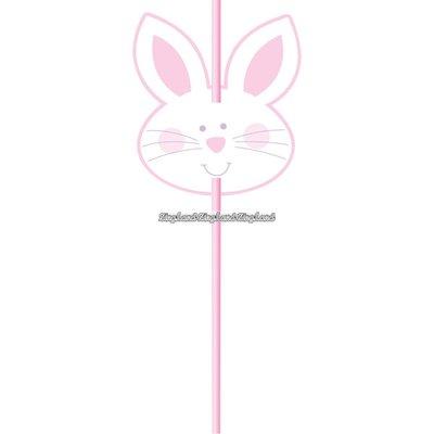 Rosa påskhare sugrör - 6 st