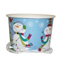 Glad snögubbe glassbägare i papper med plastskedar - 12 st