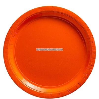 Orange papperstallrikar