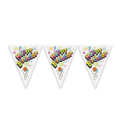 Banderoll - Happy birthday vit med ballonger