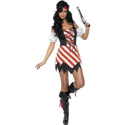Piratmaskeraddräkt, snöras, kvinna