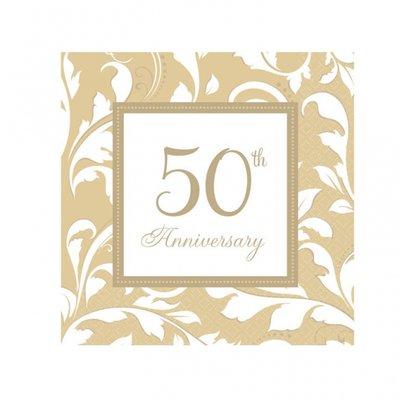 50-års jubileum beige lunchservetter - 2-lagers papper - 16 st