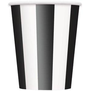 Randiga pappersmuggar - Svarta & vita - 35 cl 6 st