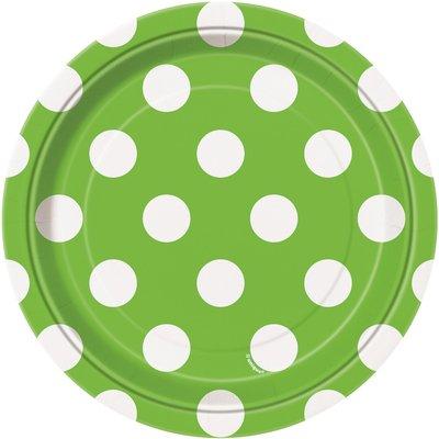 Gröna prickiga desserttallrikar i papper - 17cm - 8 st