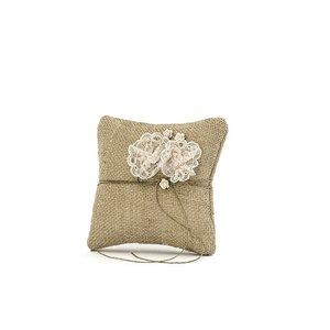 Kudde för vigselringar - Brun med ljusrosa rosor 16 cm