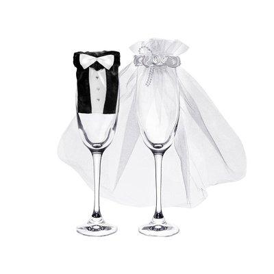 Champagneglas Utsmyckning - Brud & brudgum