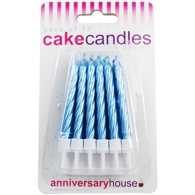Skruvade Tårtljus - ljusblå - 12 st
