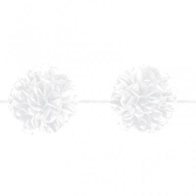 Girlang med vita pom pom - 3.65m - 2 st