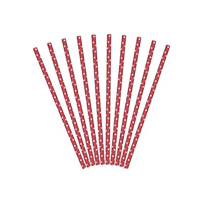 Papperssugrör med prickar - Flera olika färger 19,5 cm 10 st