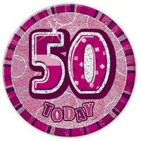Rosa 50-års födelsedagsknapp 15 cm