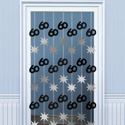 60-års dörrgardin svart / silver - 1.98m