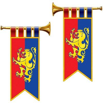 Trumpeter och flaggor med lejon - 2 st