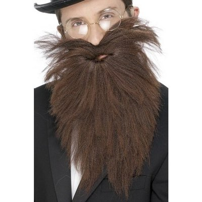 Långt skägg och mustasch brun