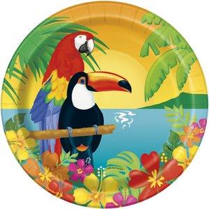 Tallrikar med papegojor - 23 cm 8 st