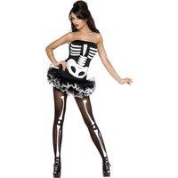 Skelettklänning kort - maskeraddräkt