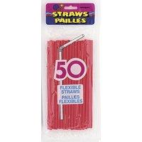 Röda böjbara sugrör - 50 st