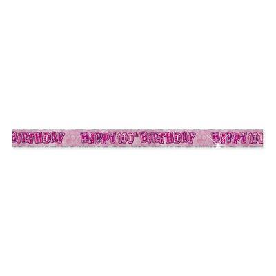100-års fördelsdagsbanderoll - rosa - 3,6m