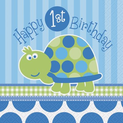 Pappersservetter 2-lagers - Sköldpadda 1-års födelsedag 16 st