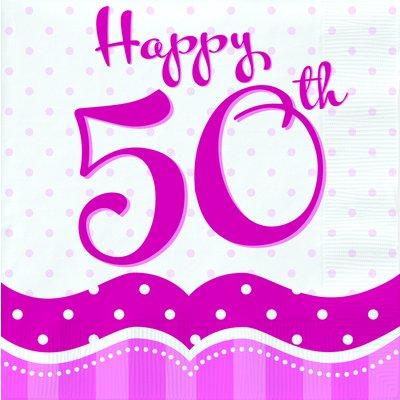 Rosa pappersservetter med prickar till 50-årsdagen 2-lagers - 18 st