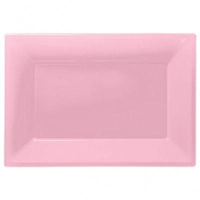 Ljusrosa uppläggningsfat i plast - 3 st