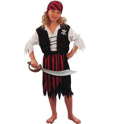 Piratbarn - maskeraddräkt kjol & väst