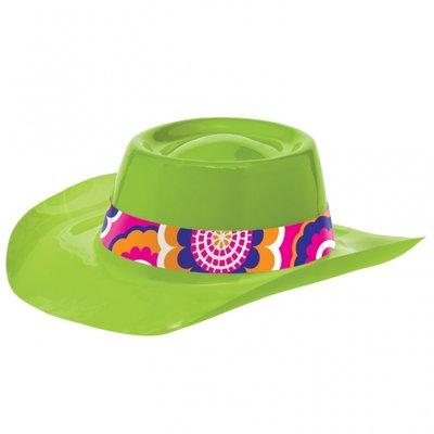 60-tals Feeling Groovy Cowboyhatt - Lime