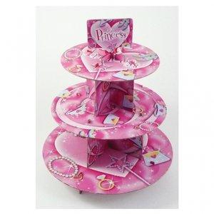 Rosa 3-vånings muffinsställ med hjärtan