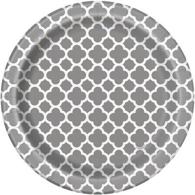 Silvriga quatrefoil assietter - 18 cm 8 st