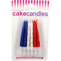Glittriga tårtljus - röd, vit och blå - 12 st