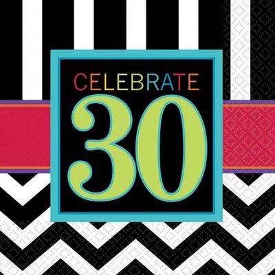 Servetter 30-års födelsedag 3-lagers - 16 st