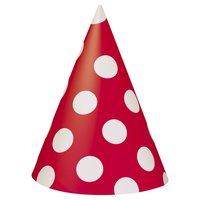 Röda prickiga partyhattar - 8 st