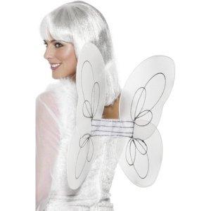 Vitt nät- och silverglitter vingar