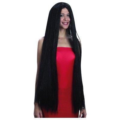 Svart extra lång peruk