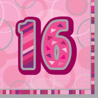 Servetter för 16-årsdagen rosa 3-lags - 16 st